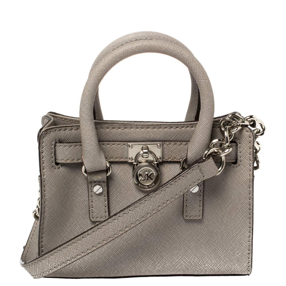 MICHAEL Michael Kors Grey Leather Mini Hamilton Crossbody Bag