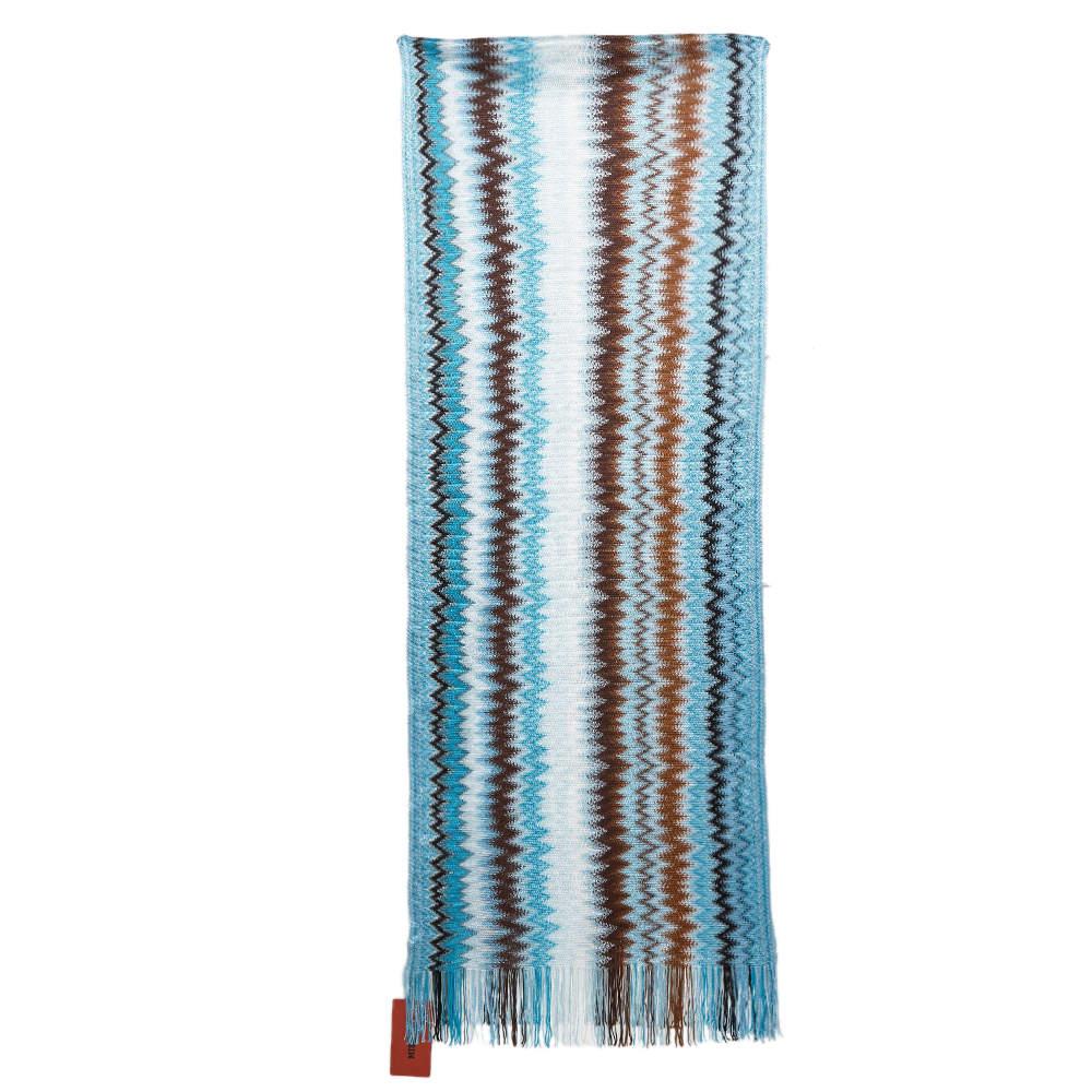Missoni Blue Zig Zag Knit Fringed Scarf