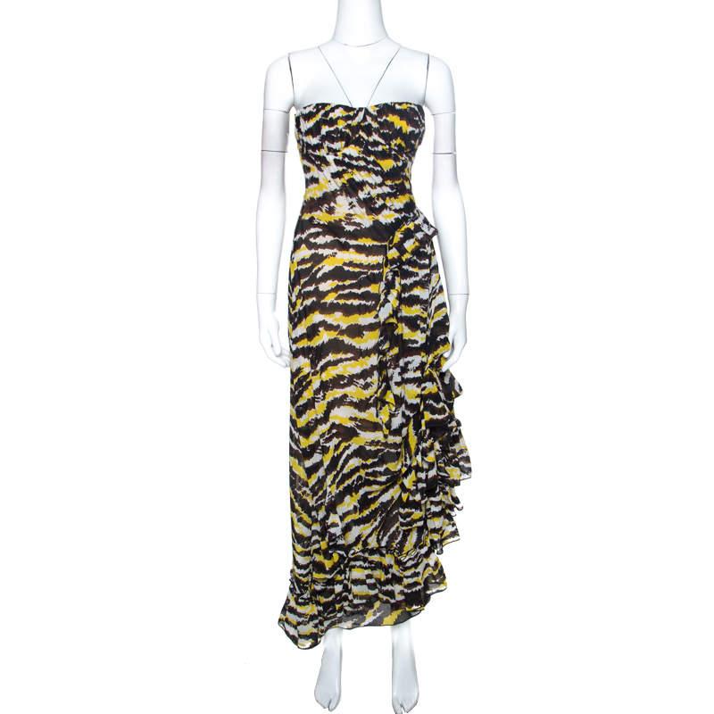 Missoni Yellow And Black Tiger Print Silk Strapless Tansy Dress S