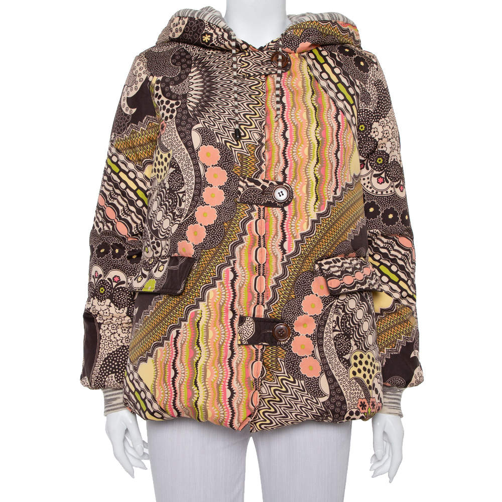 Missoni Brown Abstract Printed Synthetic Hooded Puffer Jacket S