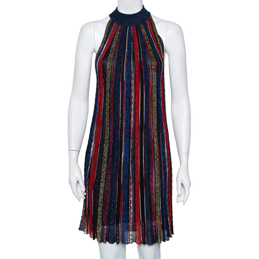 فستان ميزوني فلاميد تريكو لوريكس مقلم متعدد الألوان مقاس صغير (سمول)