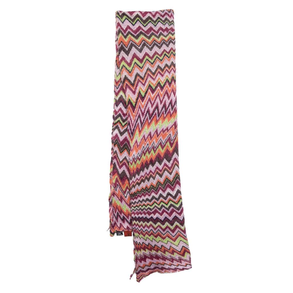 Missoni Foulard Multicolor Chevron Patterned Knit Scarf