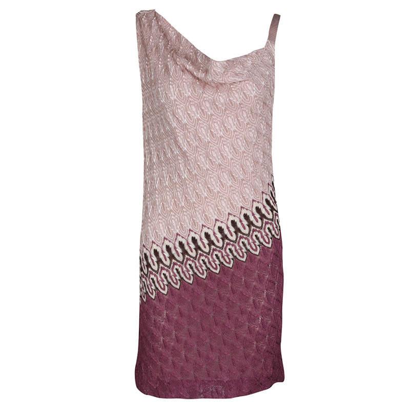 Missoni Multicolor Patterned Knit Draped Sleeveless Dress M