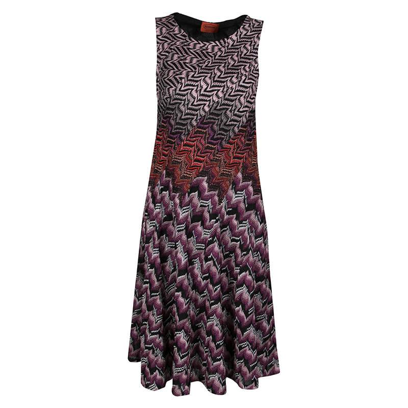 Missoni Multicolor Patterned Lurex Jacquard Knit Sleeveless A Line Dress M