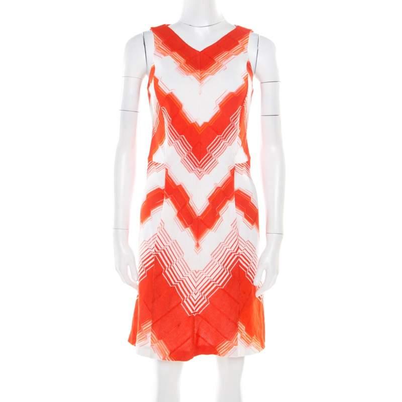 Missoni Orange and White Stretch Knit Sleeveless Sheath Dress S
