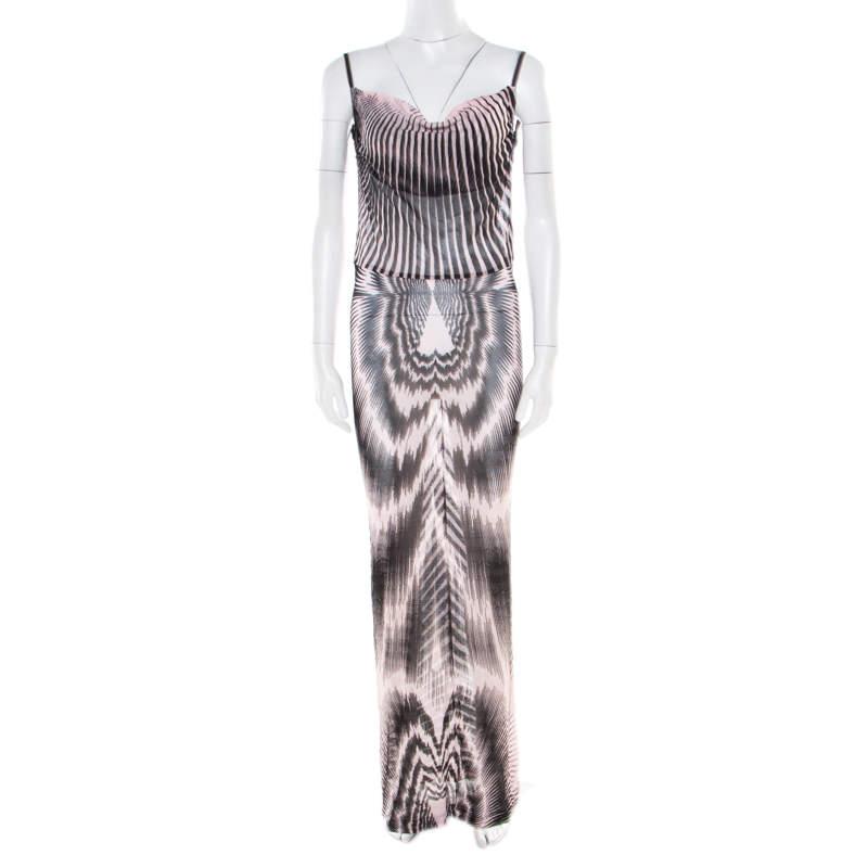 Missoni Pink and Black Patterned Sheer Knit Sleeveless Maxi Dress M