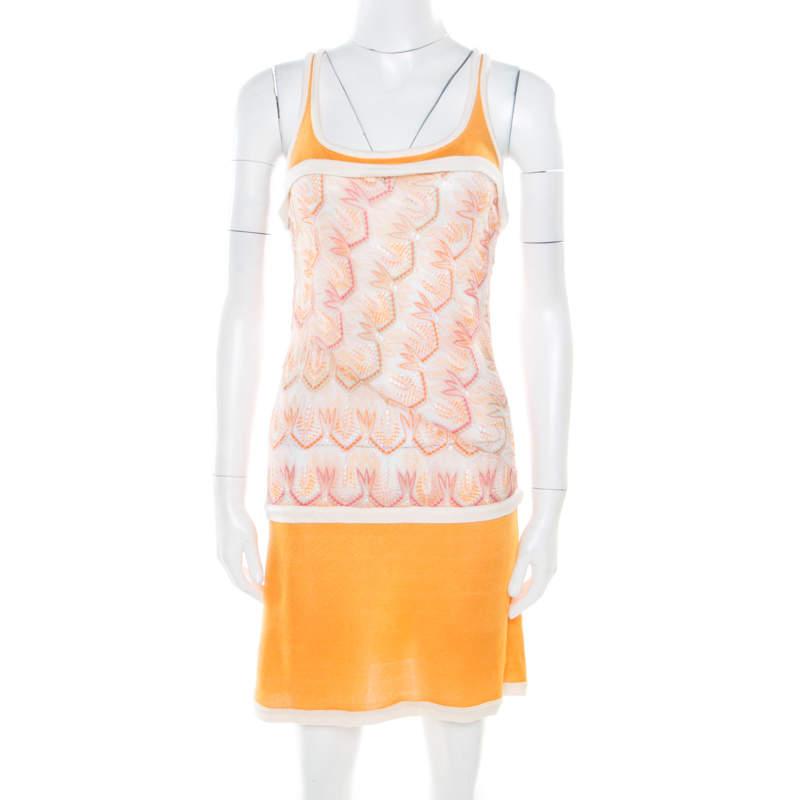 Missoni Orange Patterned Stretch Knit Paneled Tank Dress S