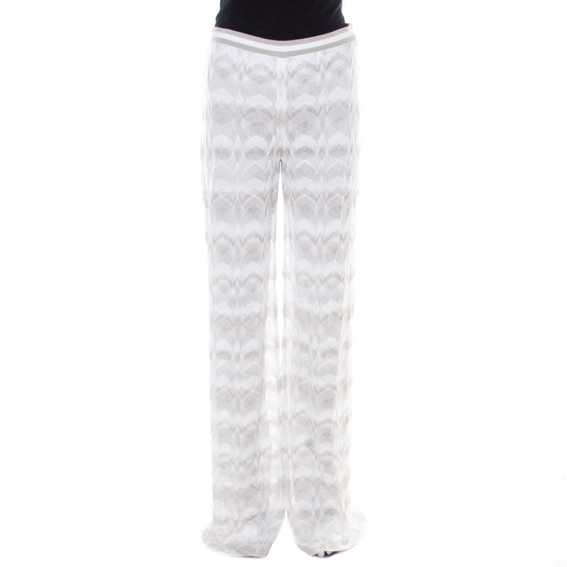 Missoni Grey and White Perforated Knit Elasticized Waist Pants M