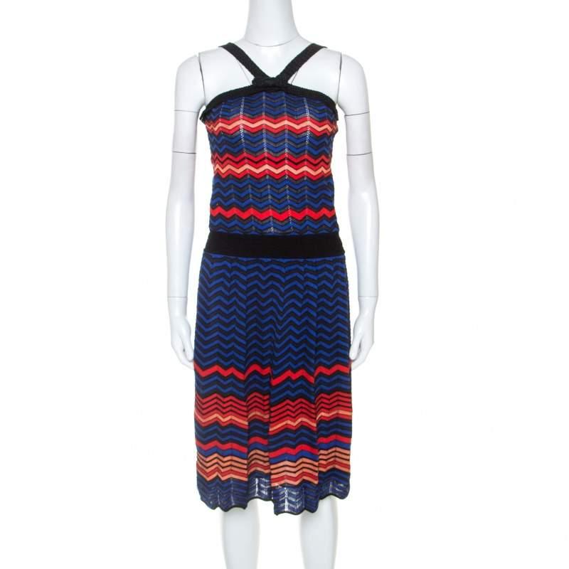 M Missoni Multicolor Chevron Knit Sleeveless Dress M