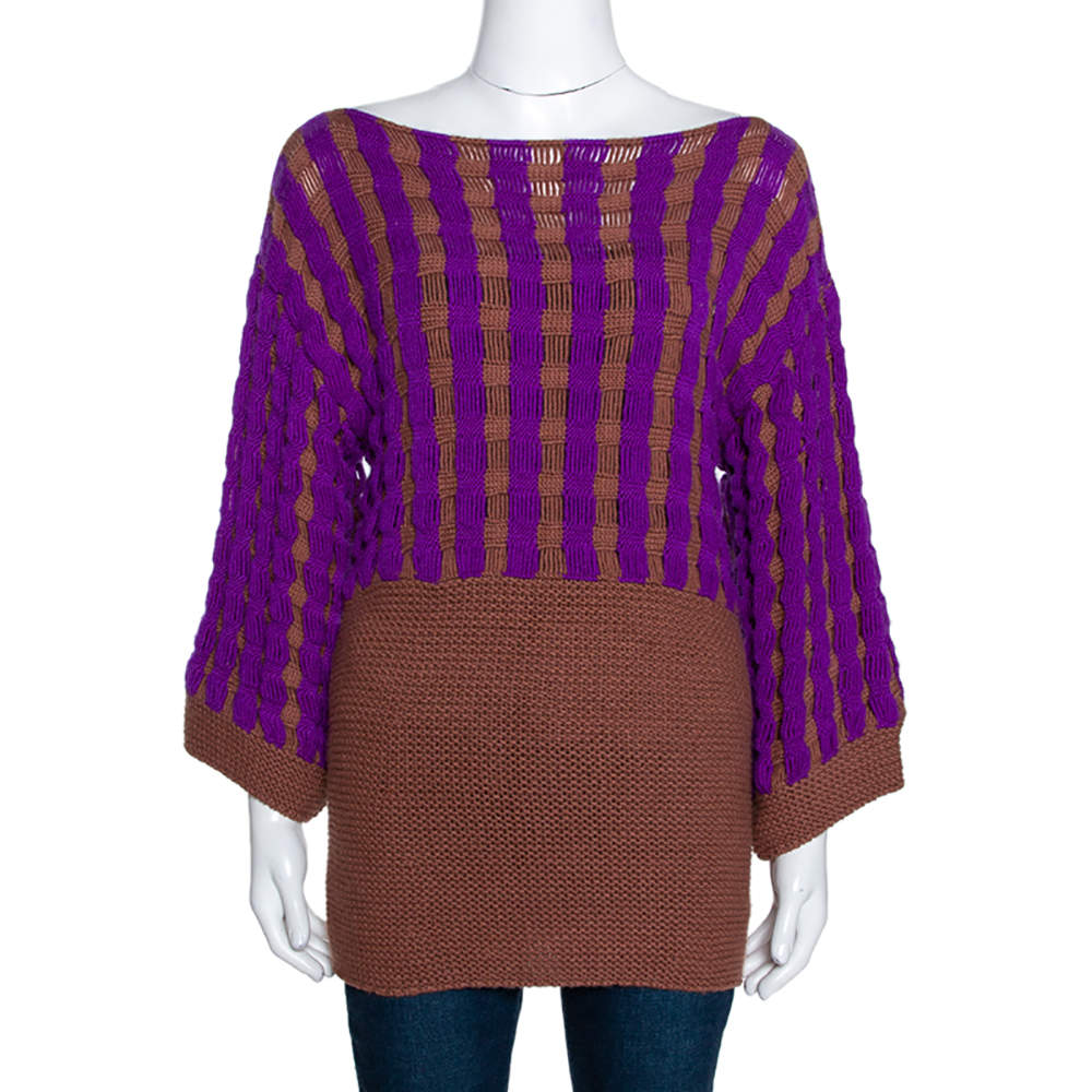 Missoni Brown & Purple Chunky Cashmere Knit Sweater M