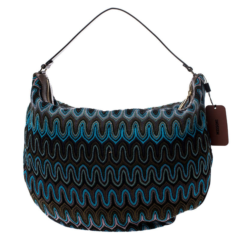 Missoni Green/Multicolor Fabric and Leather Weave Hobo