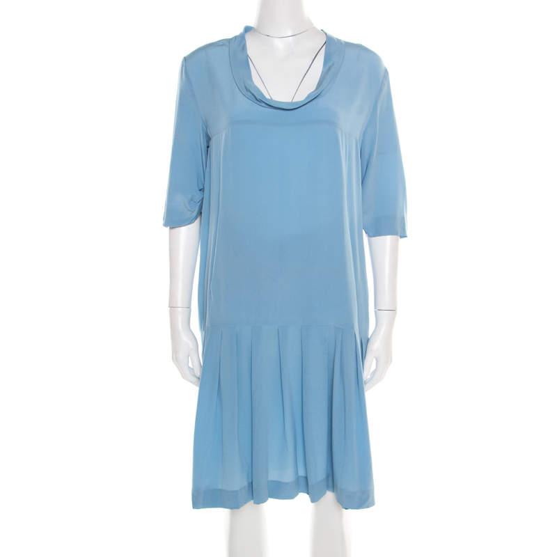 Miu Miu Blue Silk Crepe Flounce Dress M