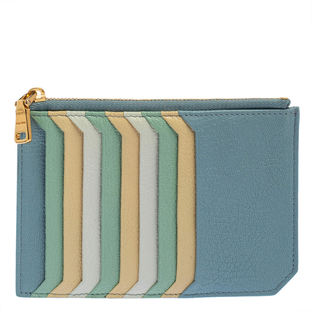 Miu Miu Multicolor Leather Zip Card Holder