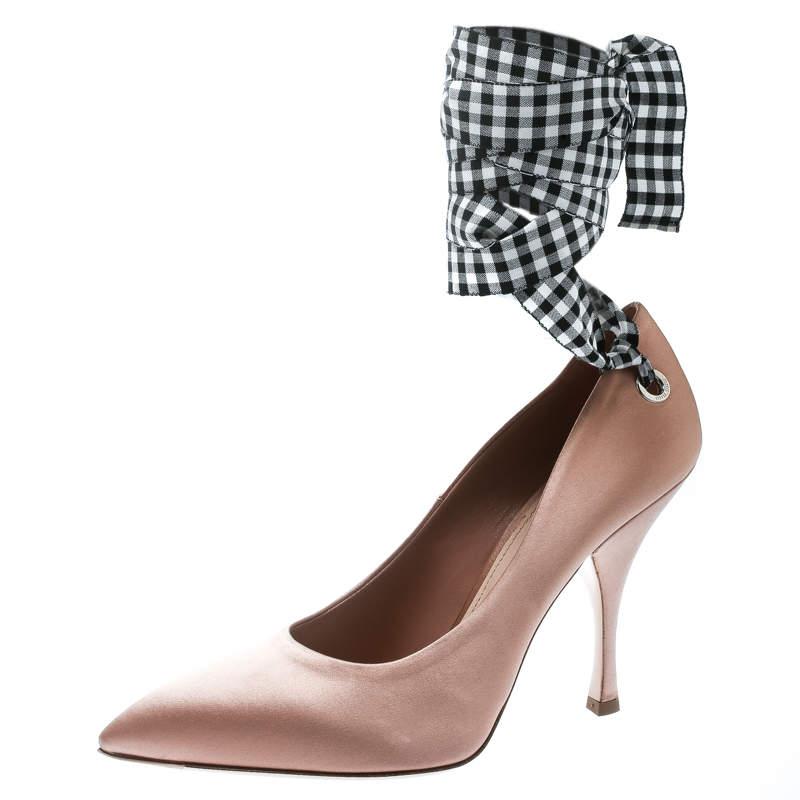 Miu Miu Beige Satin Ankle Wrap Pointed Toe Pumps Size 39