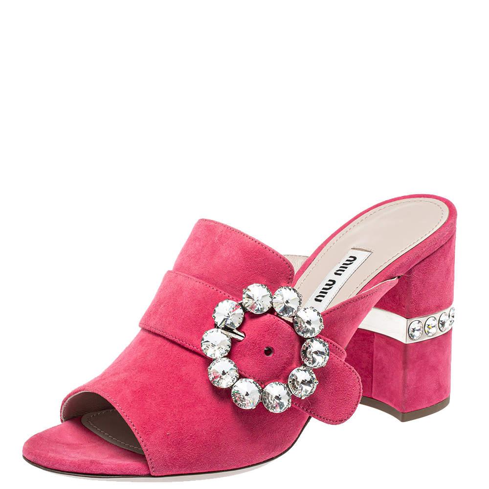 Miu Miu Pink Suede Crystal Embellished Block Heel Sandals Size 37