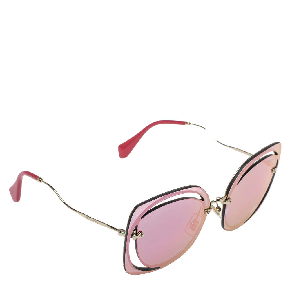 Miu Miu Gold Tone/Pink & Grey Mirrored SMU 54S Scénique Cut Out Sunglasses