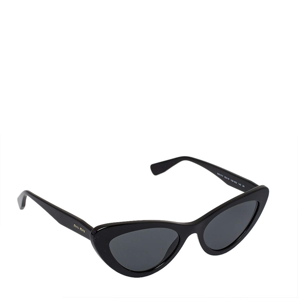 Miu Miu Black / Grey SMU 01V Cat Eye Sunglasses