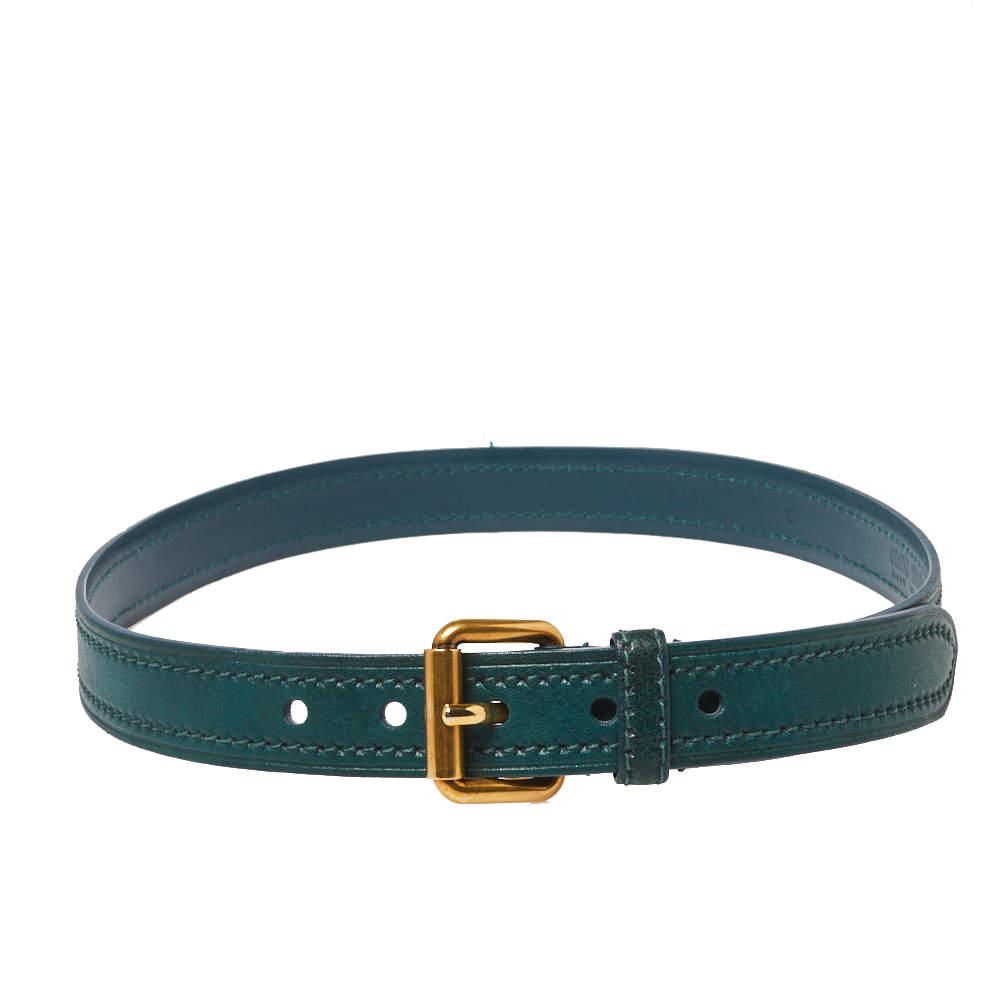 Miu Miu Green Leather Buckle Belt 75CM