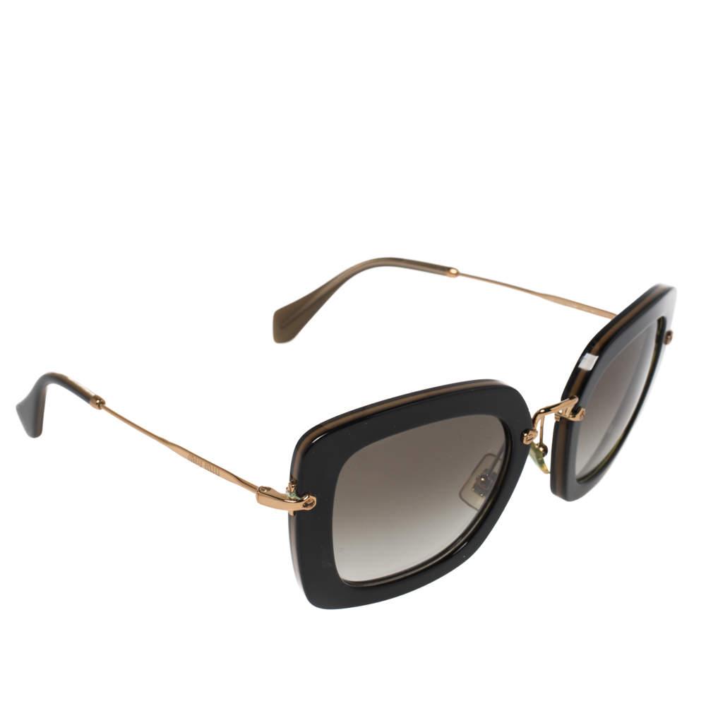 Miu Miu Black/Olive Green Gradient SMU07O Square Sunglasses