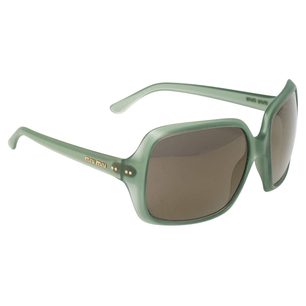 Miu Miu Green / Grey SMU08Q Oversized Square Sunglasses