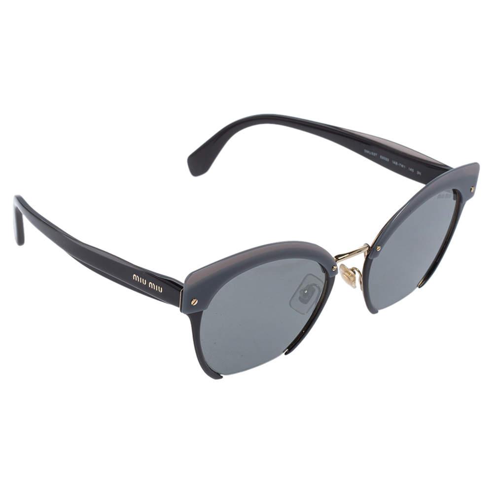 Miu Miu Grey/ Grey Mirrored SMU 53T Cat Eye Sunglasses