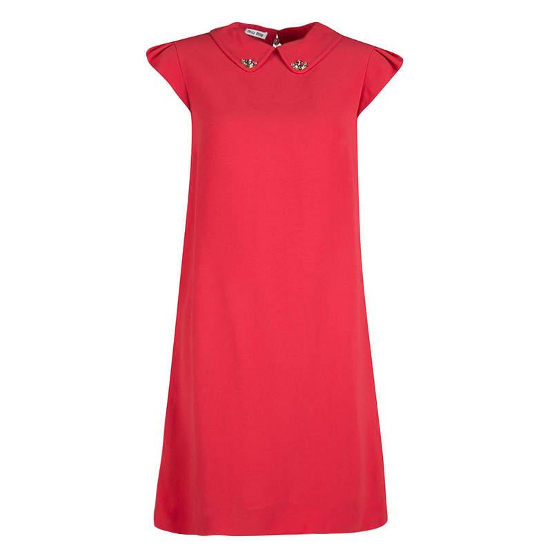 Miu Miu Red Embellished Collar Cap Sleeve Dress S