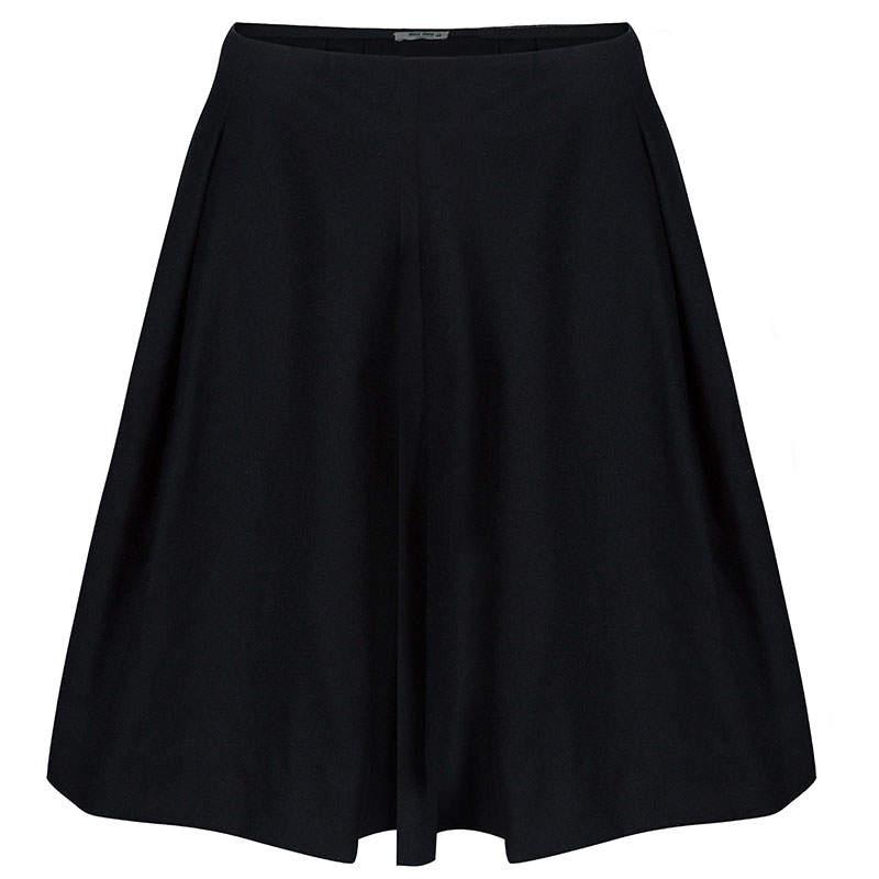 Miu Miu Black Pleated Wool Mini Skirt S