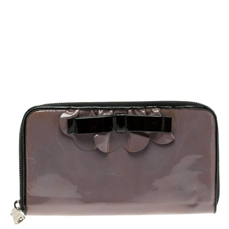 Miu Miu Lilac Patent Leather Zip Around Wallet
