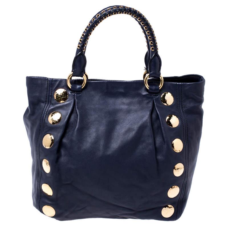 حقيبة ميو ميو جلد أزرق كحلي مرصعة