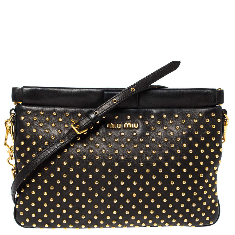 Miu Miu Black Studded Leather Crossbody Bag