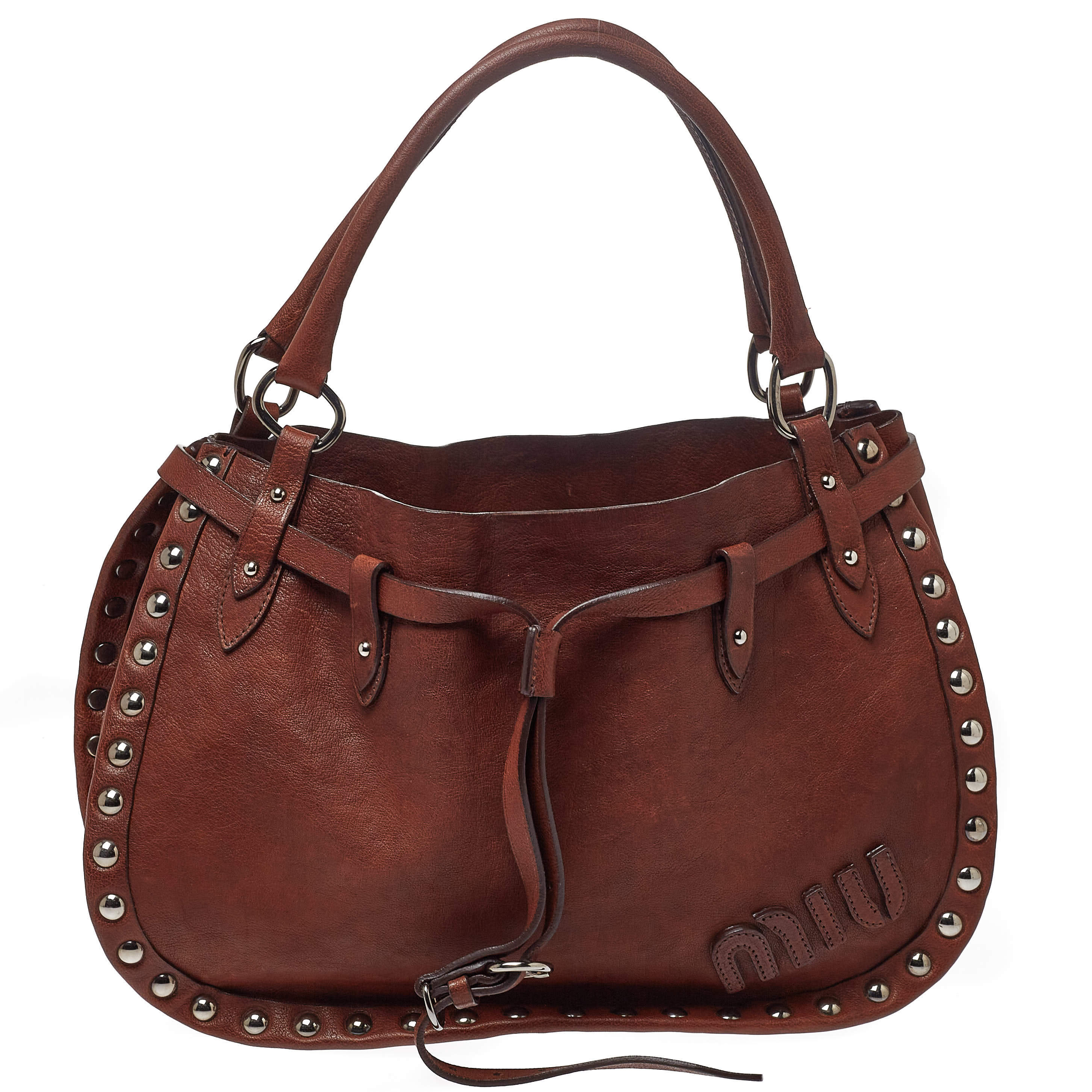 Miu Miu Brown Leather Studded Satchel