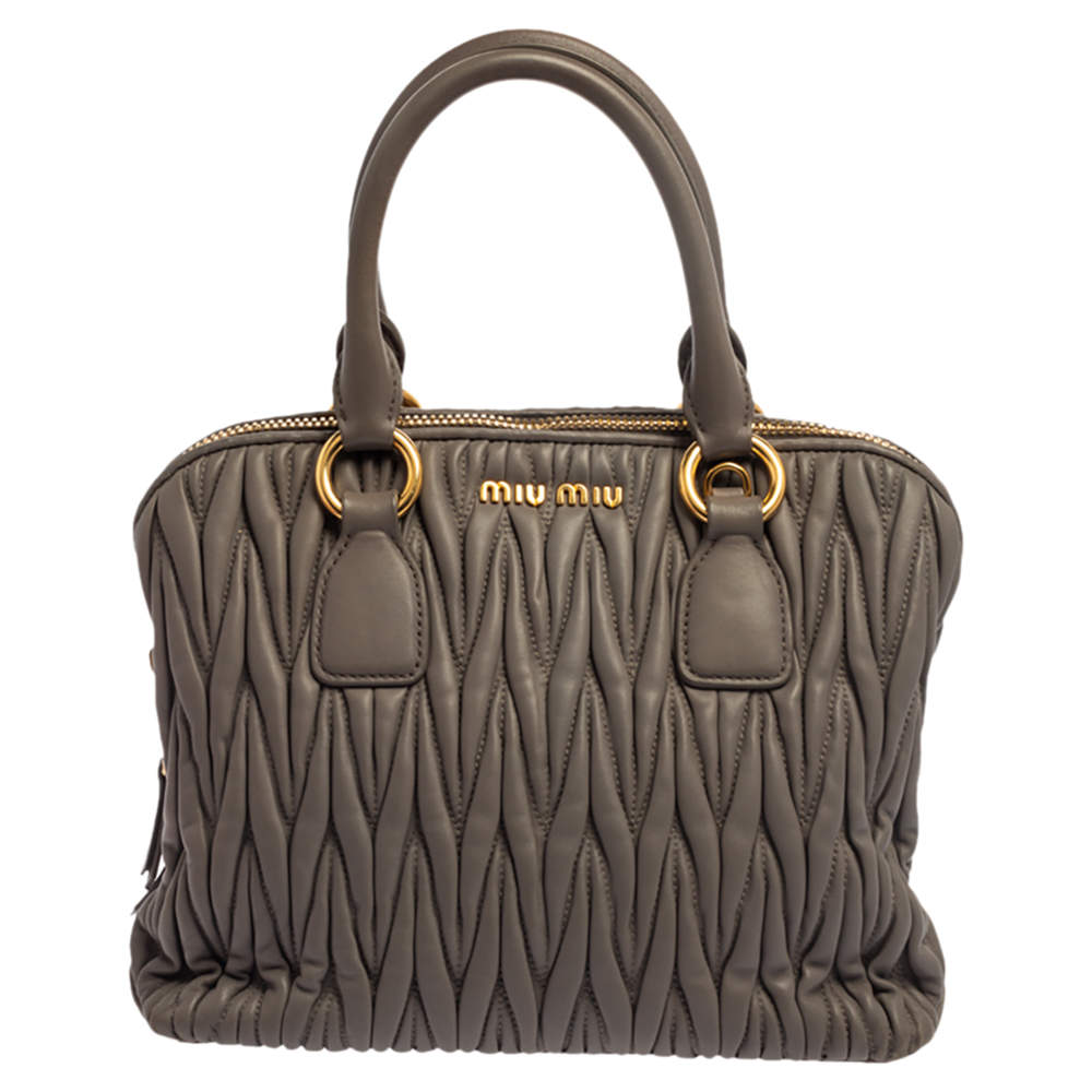 Miu Miu Taupe Matelasse Leather Bauletto Satchel