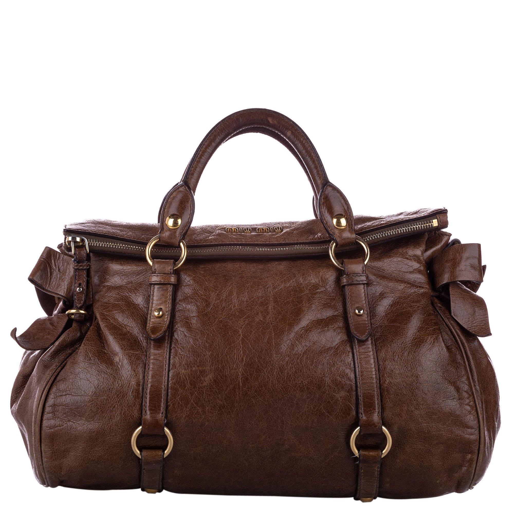 Miu Miu Brown Leather Vitello Lux Bow Satchel Bag