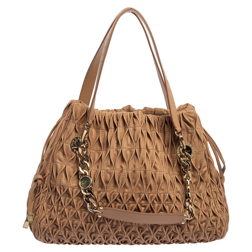 Bvlgari Beige Quilted Leather Monette Tote