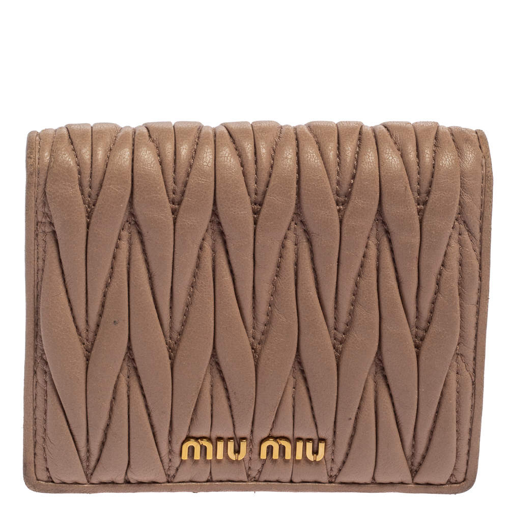 Miu Miu Beige Matelasse Leather Flap Compact Wallet