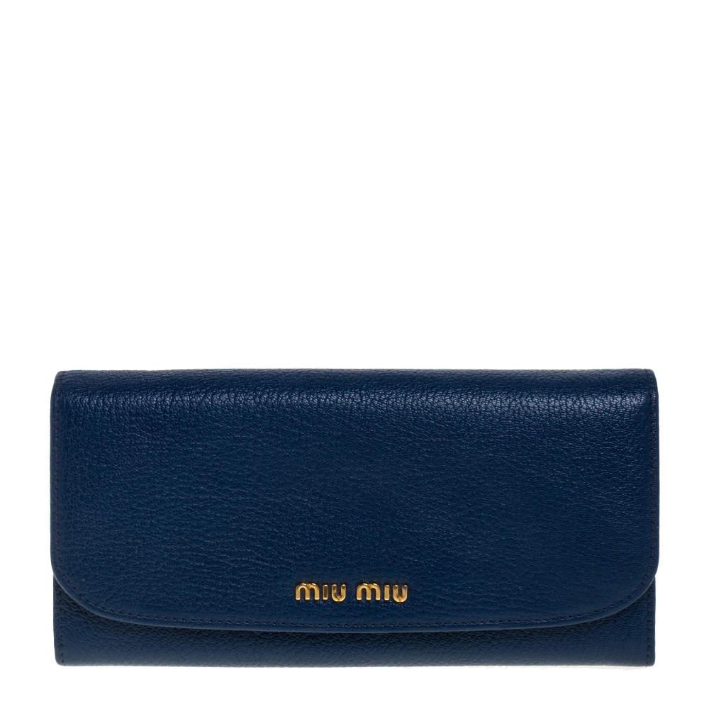 Miu Miu Blue Madras Leather Continental Wallet