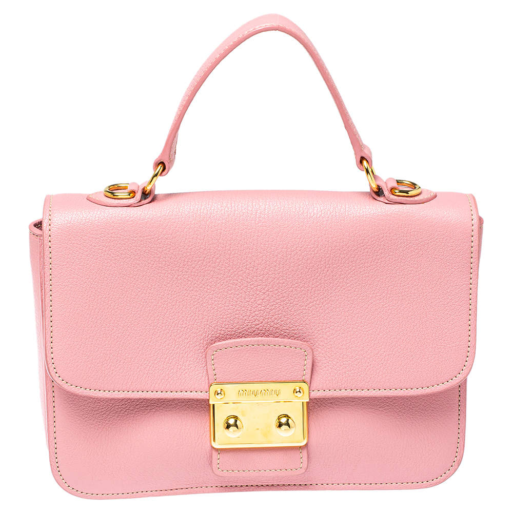 Miu Miu Pink Madras Leather Push Lock Flap Top Handle Bag