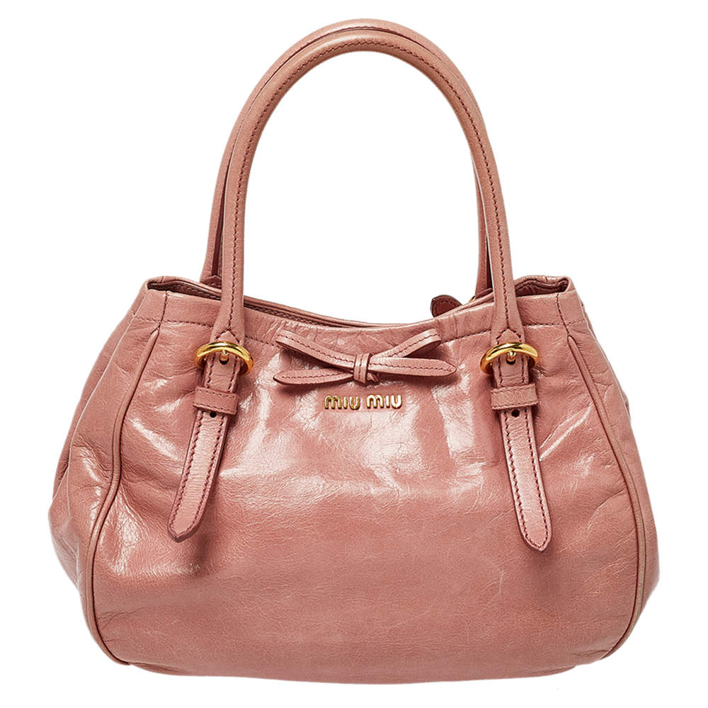 Miu Miu Pink Leather Bow Shoulder Bag
