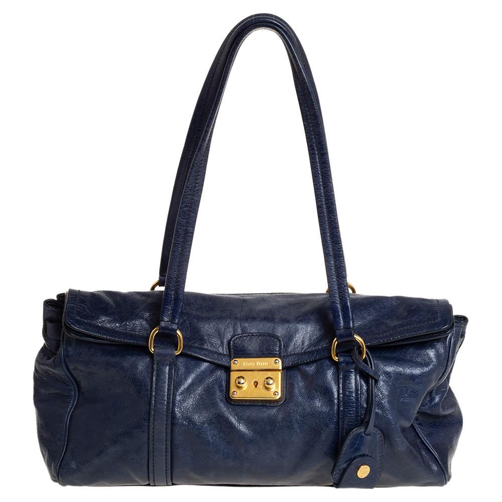 Miu Miu Navy Blue Glazed Leather Flap Push Lock Satchel