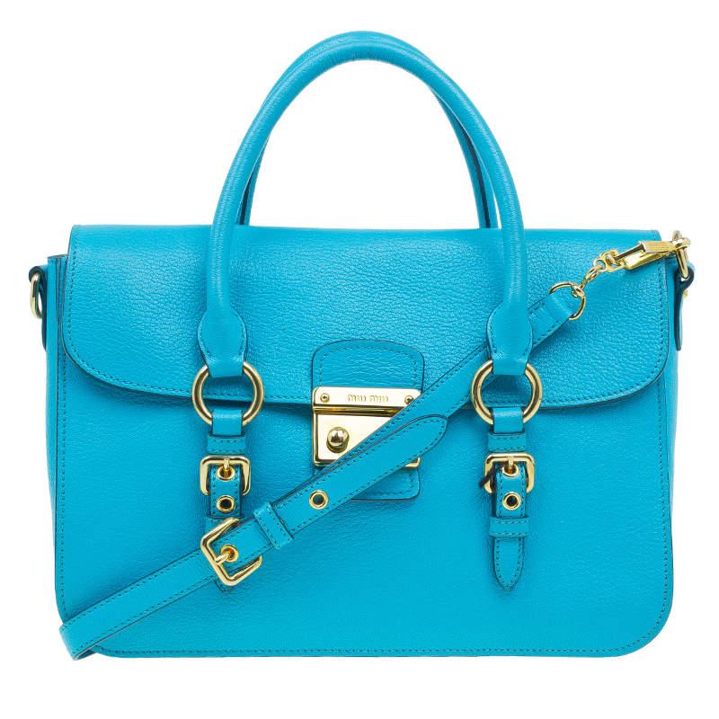 Miu Miu Turquoise Blue Leather Large Madras Flap Satchel Bag
