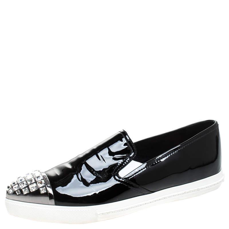 Miu Miu Black Patent Leather Embellished Slip On Loafers Size 37