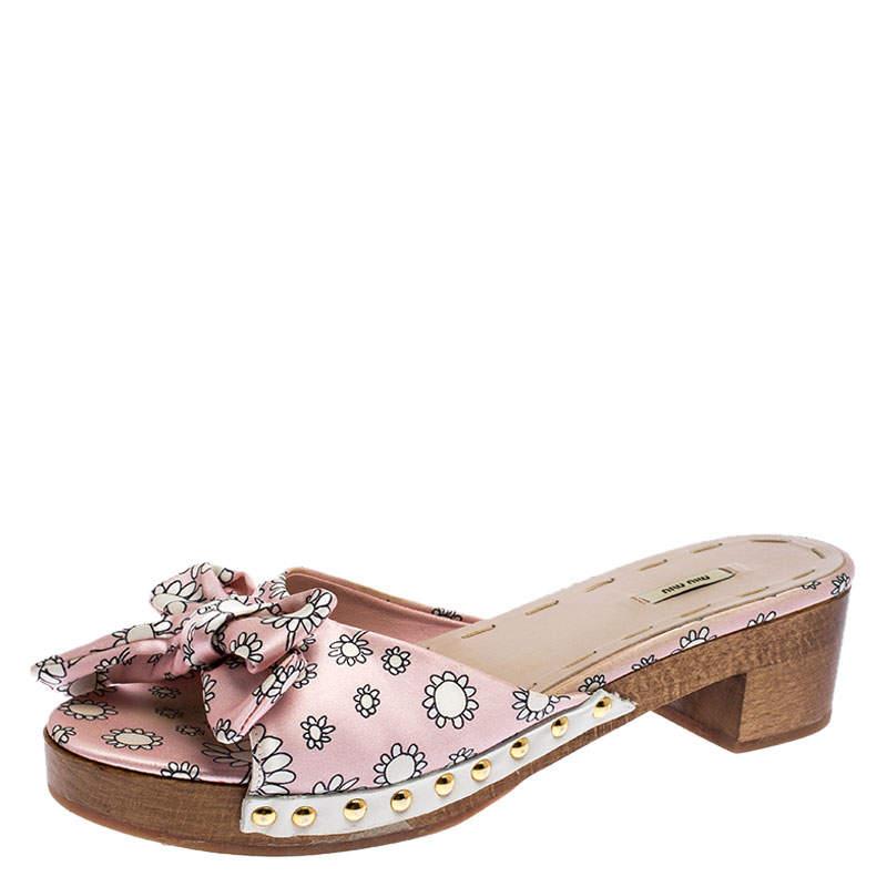 Miu Miu Pink/White Printed Satin Bow Wooden Platform Sandals Size 39.5