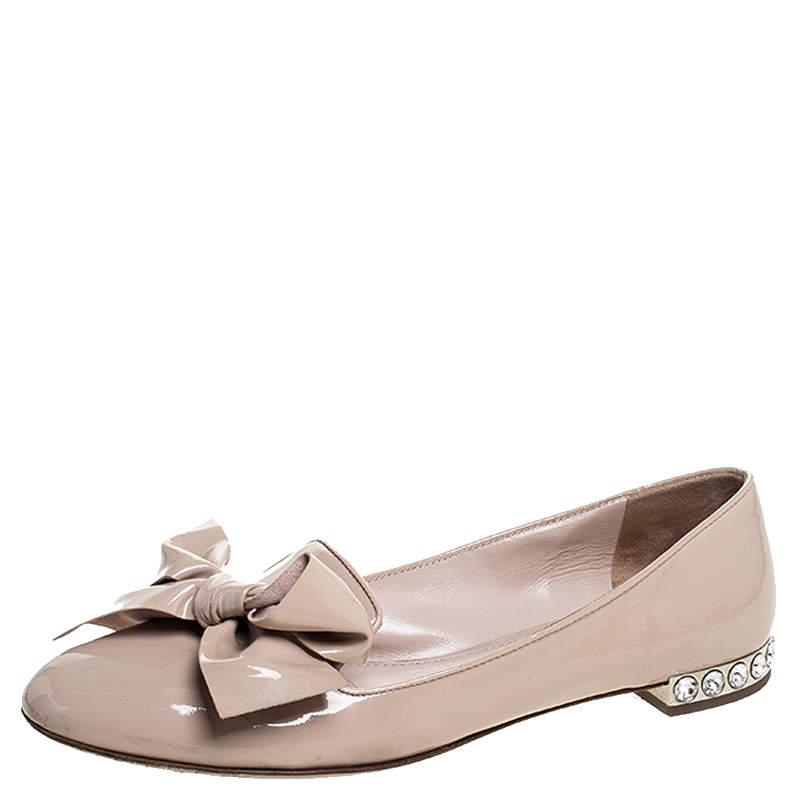Miu Miu Beige Patent Leather Bow Jeweled Heel Flats Size 37.5