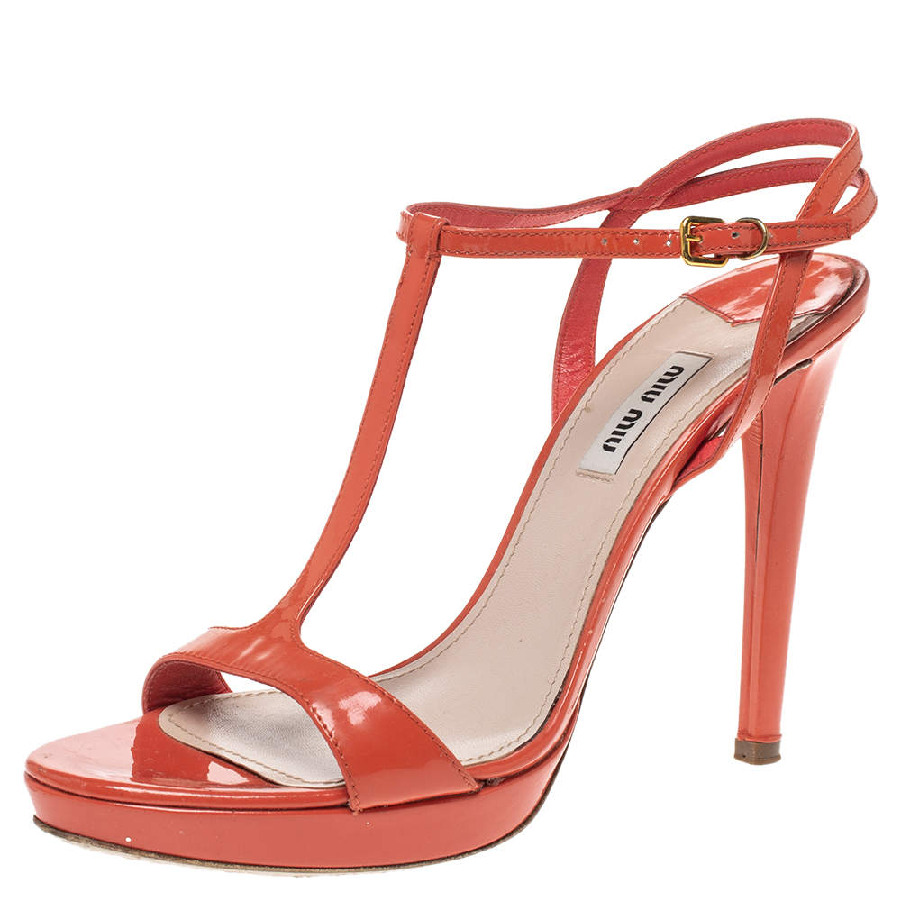 Miu Miu Orange Patent Leather T Strap Platform Sandals Size 39