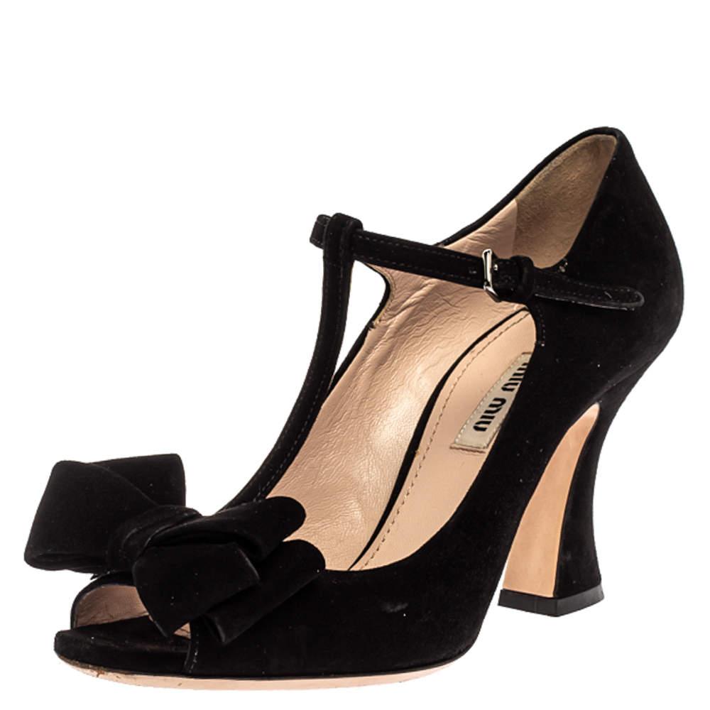 Miu Miu Black Suede Bow T-Strap Ankle Strap Sandals Size 36.5