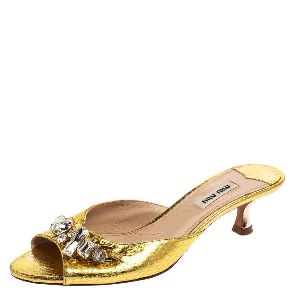 Miu Miu Gold Python Embossed Leather Crystal Embellished Open Toe Sandals Size 38.5