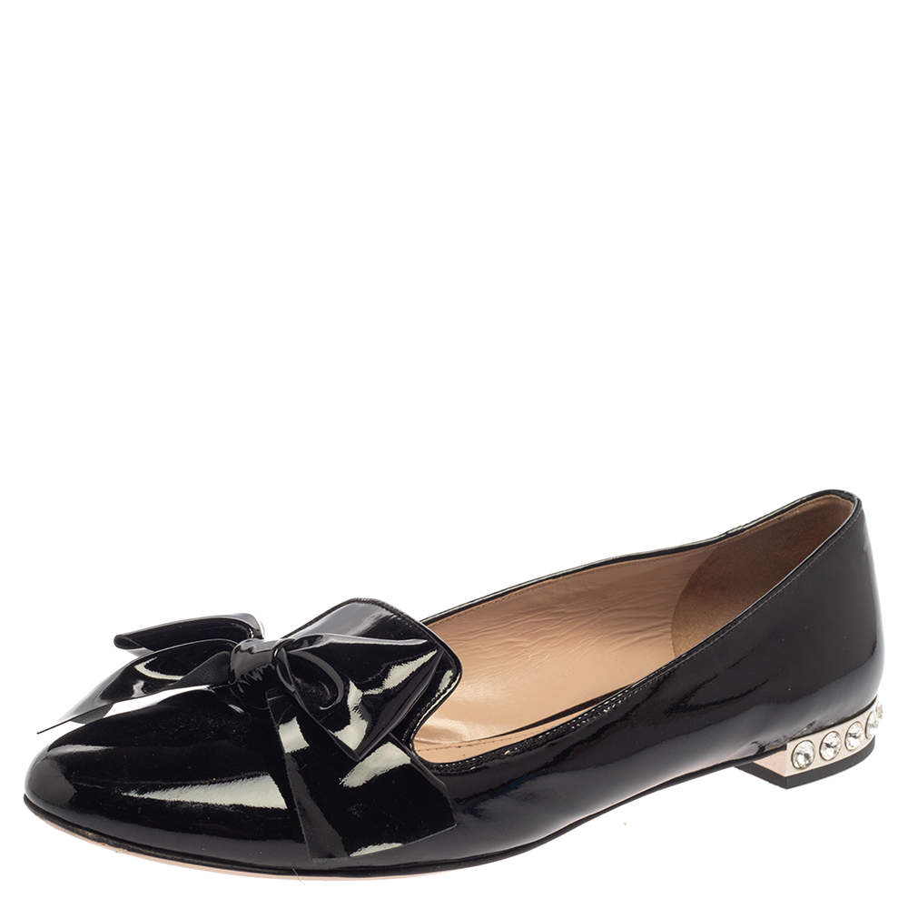 Miu Miu Black Patent Leather Crystal Embellished Heel Bow Slip On Loafers Size 40