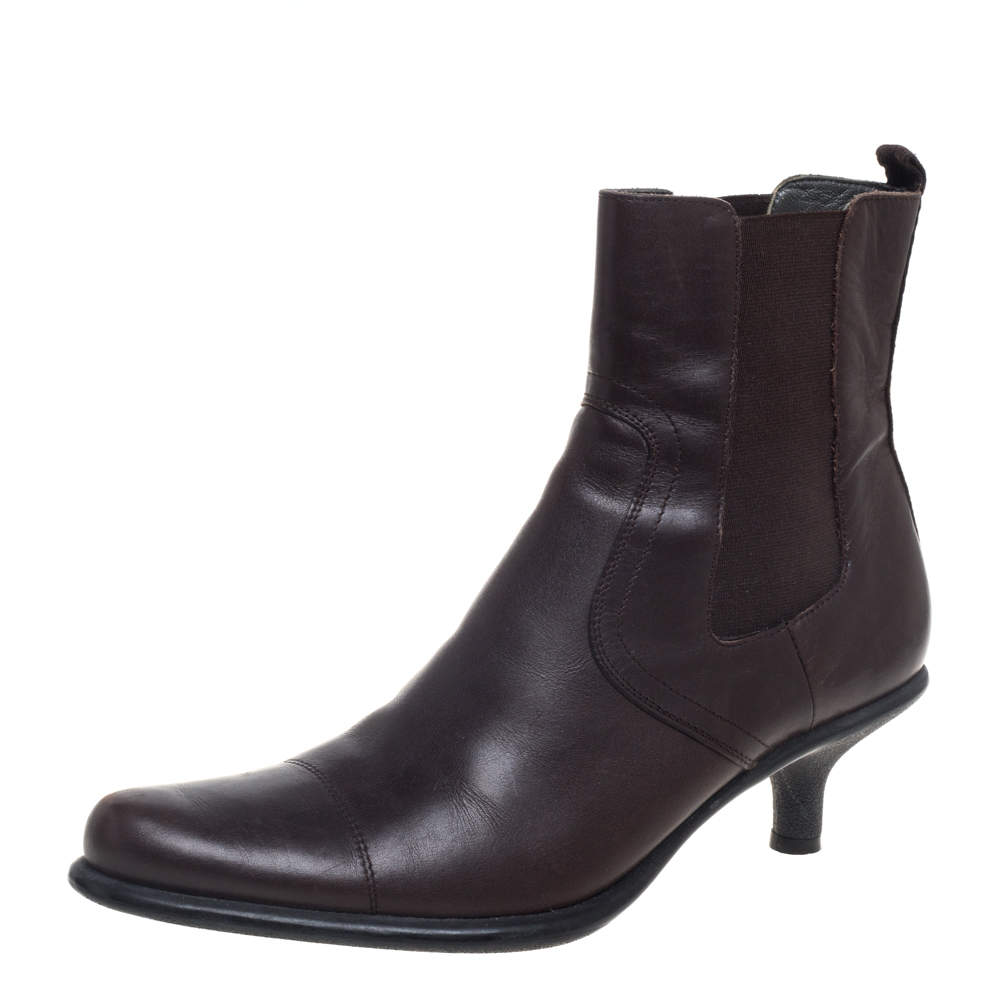 Miu Miu Brown Leather Slip On Ankle Boots Size 39.5