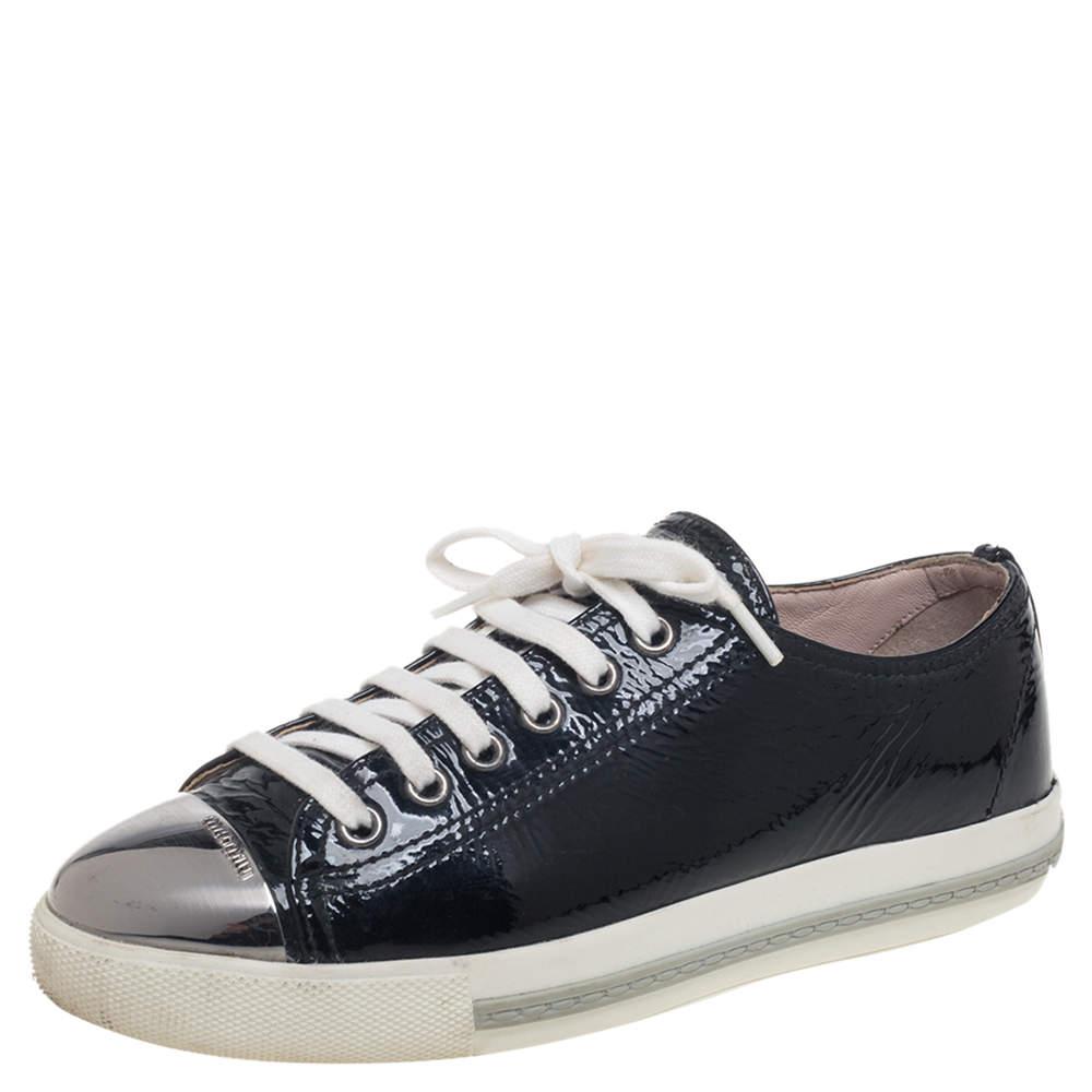 Miu Miu Black Patent Leather Metal Cap Toe Lace Up Sneakers Size 36.5
