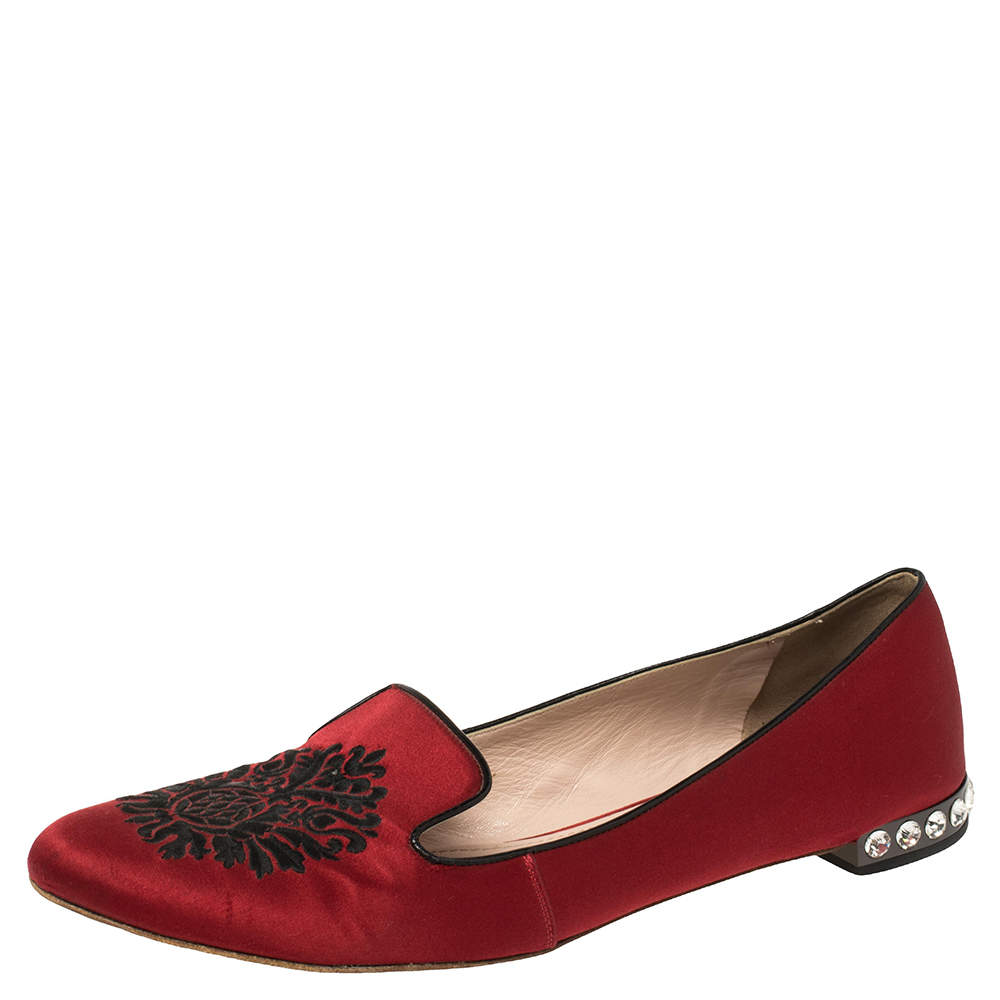 Miu Miu Red Satin Embroidered Crystal Studded Smoking Slippers Size 42